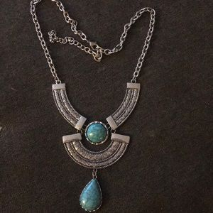 Silver and turquoise large necklace